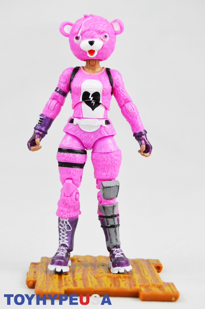 cuddle team leader is sculpted and painted in her pink skin tight outfit with a broken heart detail and has a huge bear head mask and dark pink gloves - fortnite broken heart