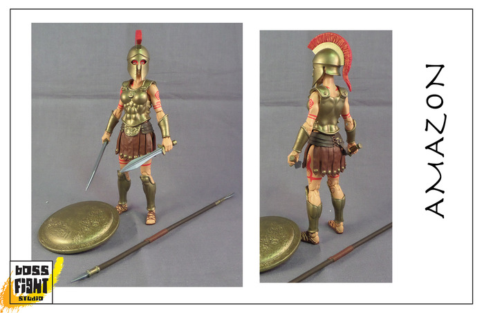 Boss Fight Studio's Vitruvian H.A.C.K.S. Amazon & Leonidas Paint Master Samples