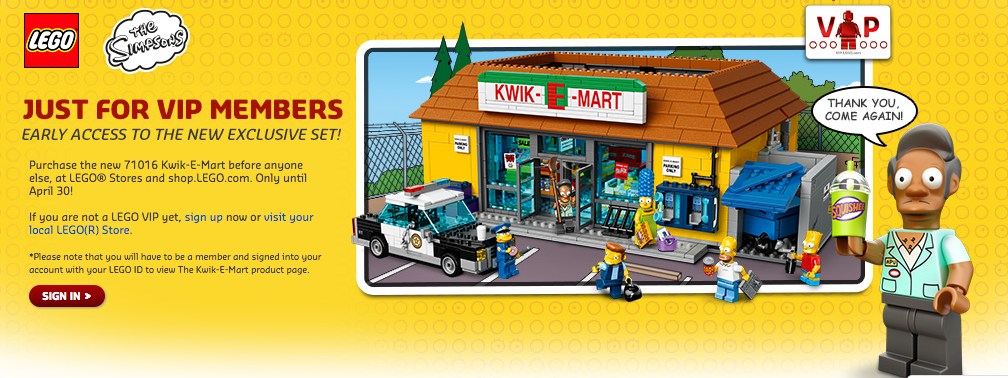 LEGO Shop Offers VIP Early Access Sale For The Simpsons 71016 Kwik-E-Mart Set