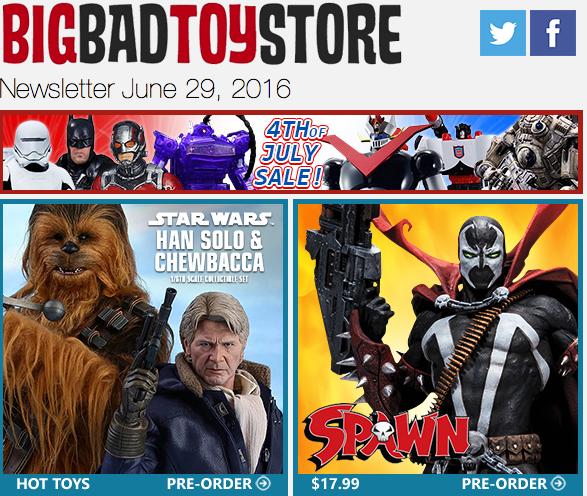 BigBadToyStore Update: July 4th Sale, Spawn, Star Wars, Mega Man, The Walking Dead, Funko Pop!, GI Joe, Transformers & More