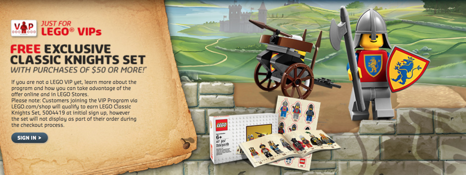 LEGO Shop Offers Free Retro LEGO Knights Set With Purchase