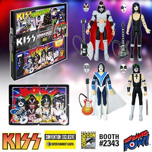 Bif Bang Pow! SDCC Exclusive KISS Unmasked 3 3/4″ Action Figures Deluxe Box Set