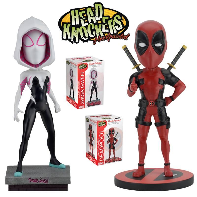 NECA Toys Marvel's Deadpool / Spider-Gwen Head Knockers On Amazon & eBay