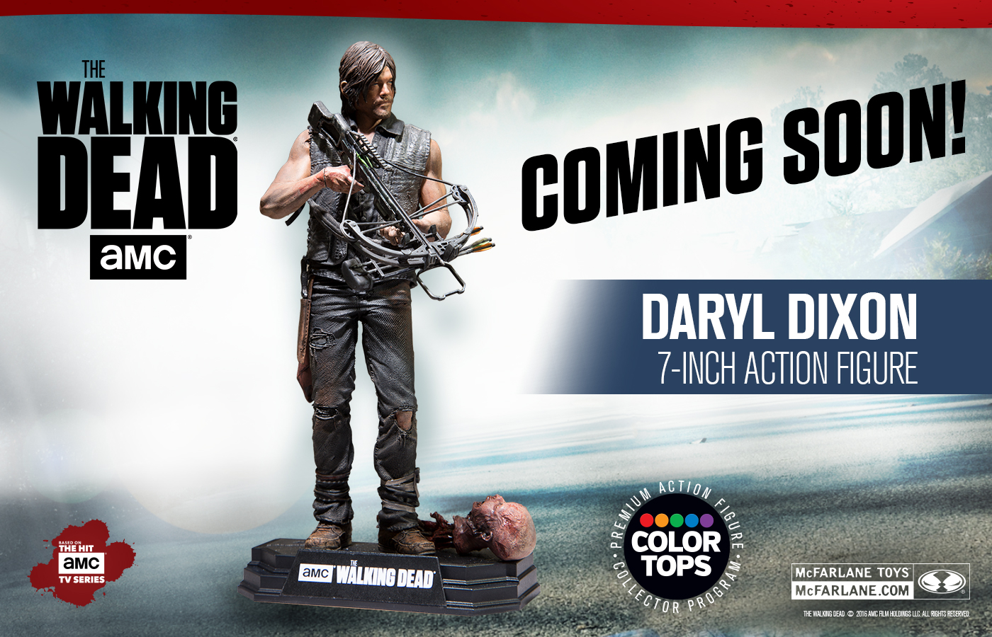 McFarlane Toys The Walking Dead 7″ Color Tops Daryl Dixon Figure Announced