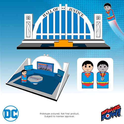 Bif Bang Pow! Justice League Pin Mate Wood Hall Of Justice Set With Superman & Bizarro