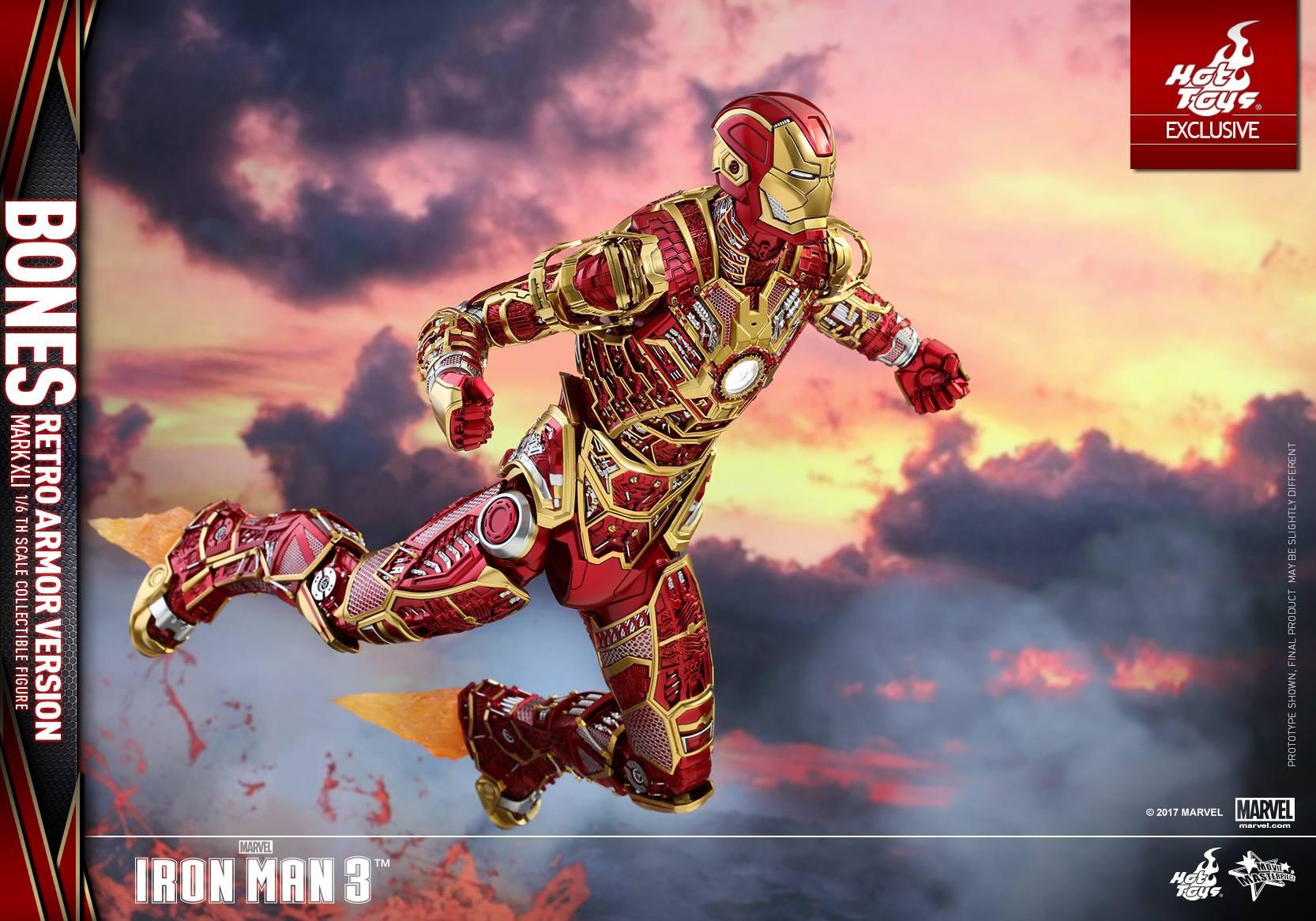 Hot Toys Iron Man 3 – Mark XLI Bones Armor Retro Color Figure
