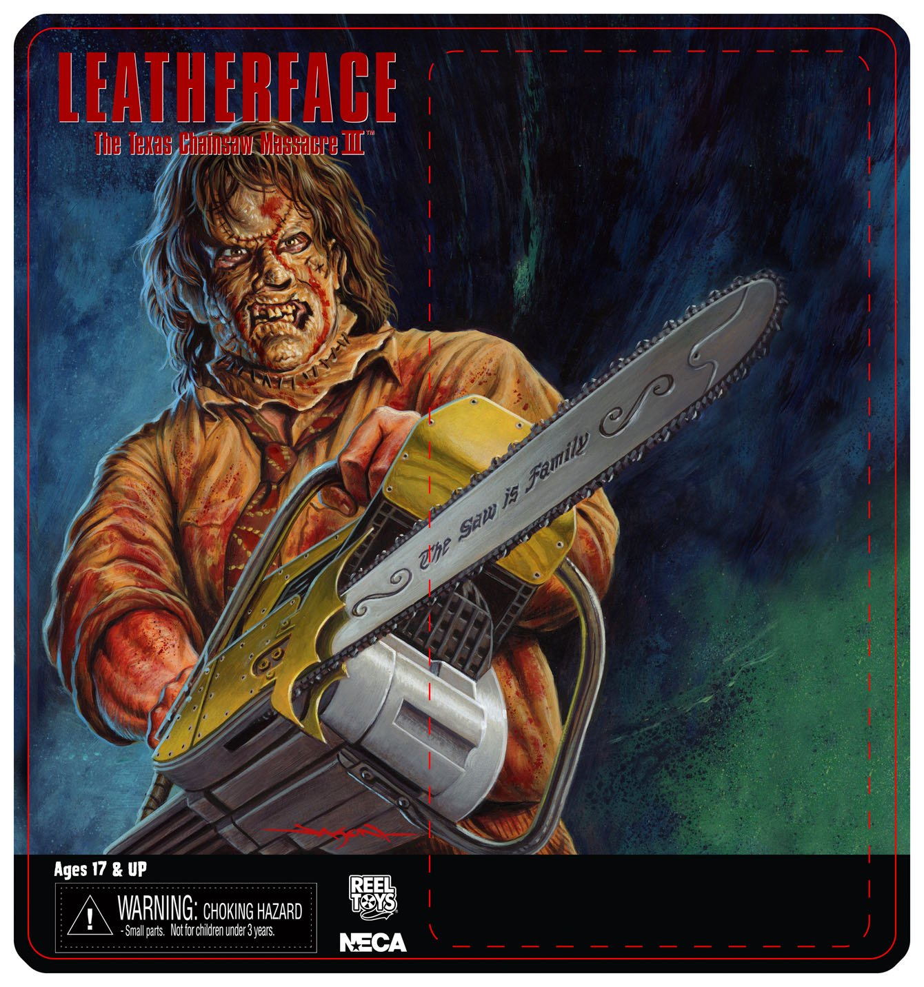NECA Toys Leatherface: Texas Chainsaw Massacre 3 – 8″ Scale Leatherface Retro Mego Style Figure Card Art