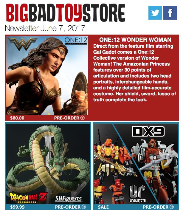 BigBadToyStore: Wonder Woman, DBZ Shenron, Unique Toys/DX9 Sale, X-Files, Deadpool, Batman:TAS, Megazord & More