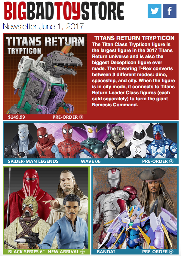 BigBadToyStore: Trypticon, SW Black, Marvel, Bandai, Lennon, 3P Sale, 1/6 & More