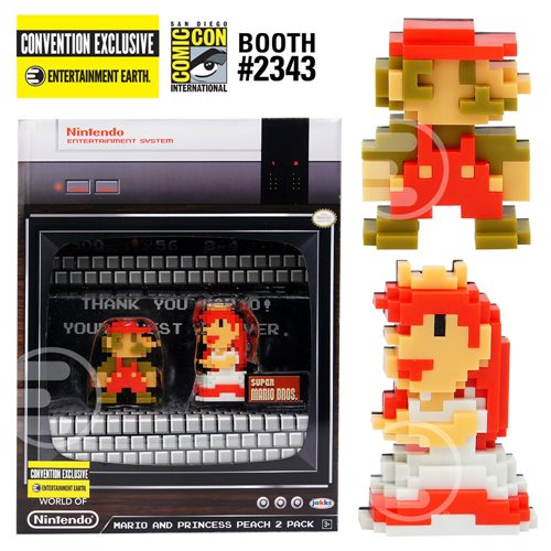 World Of Nintendo Super Mario And Princess Peach 8-Bit Mini-Figures 2-Pack SDCC 2017 Exclusive