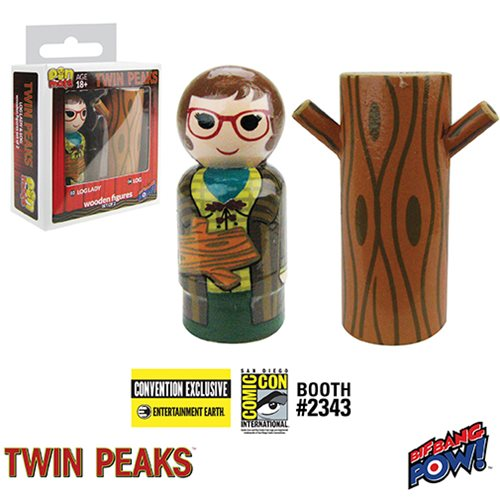 SDCC 2017 Exclusive Twin Peaks Log Lady & Log Pin Mate Wooden Figure Set Of 2