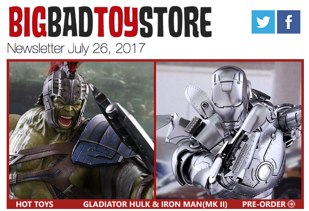 BigBadToyStore: Marvel Hot Toys, NECA, Street Fighter, Star Wars, My Little Pony, Robotech, Acid Rain & More