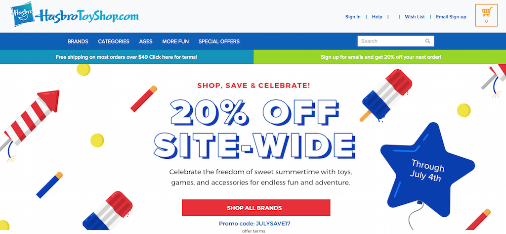 HasbroToyShop Offering 20% Off Storewide With 4th Of July Coupon Code