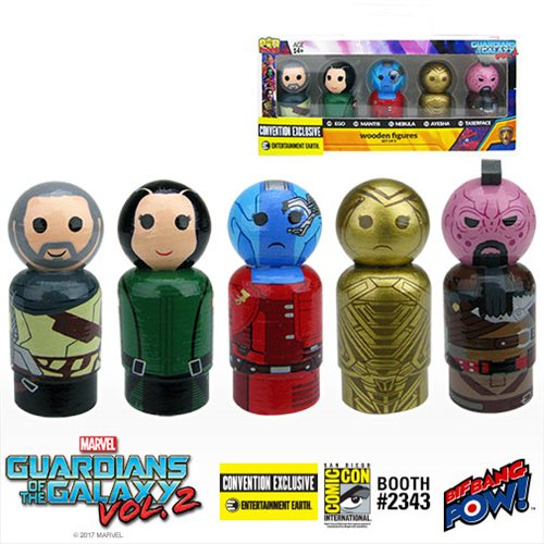 SDCC 2017 Exclusive Guardians Of The Galaxy Vol. 2 Icons Pin Mate Wooden Figure Set of 5