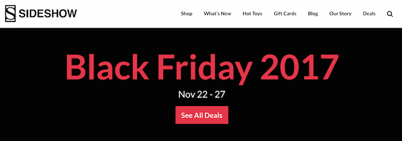 Sideshow Collectibles Launches Black Friday 2017 Savings Event