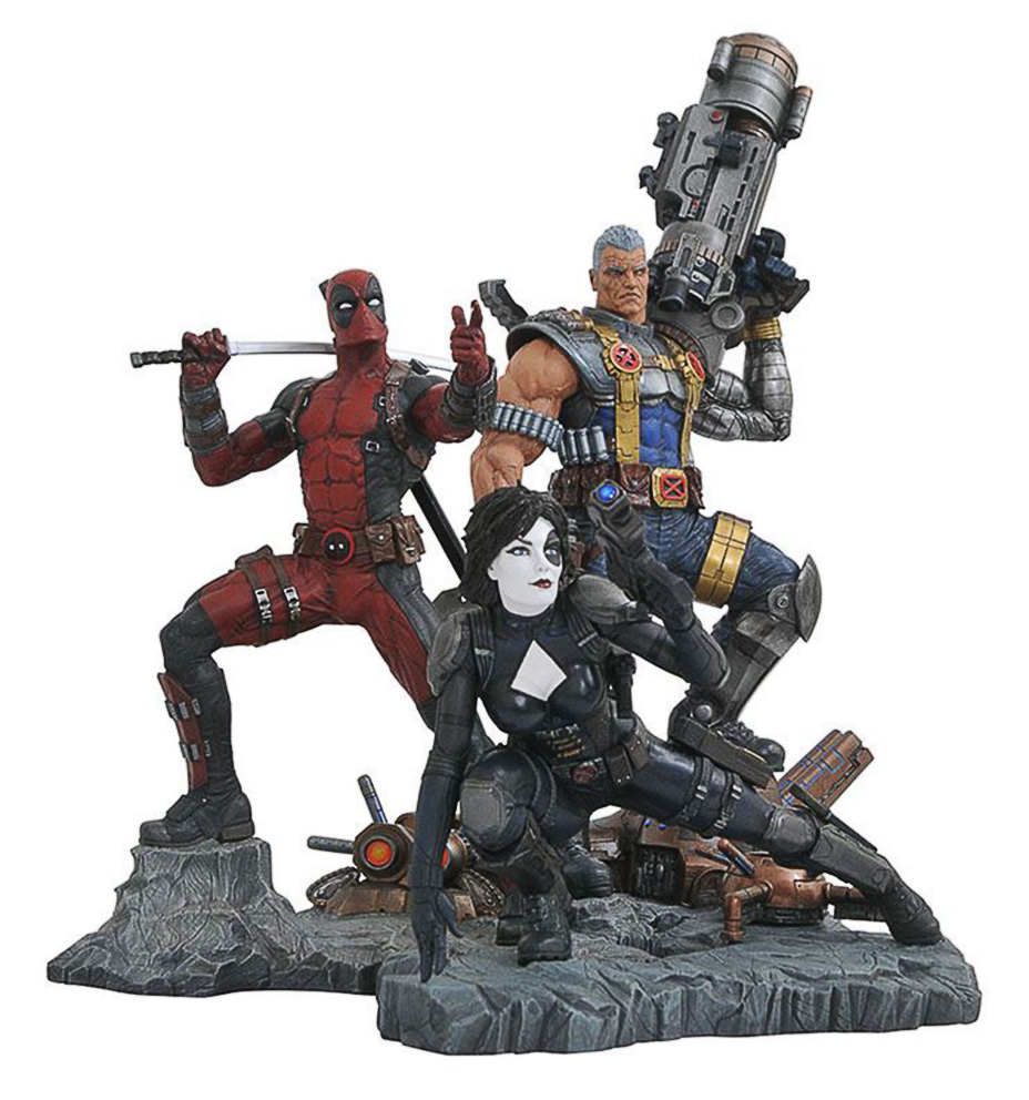 Diamond Select Toys – Marvel Premier Collection Cable, Domino & Deadpool Statues
