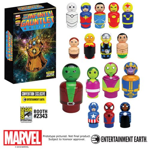 Entertainment Earth Doorbuster Deal – Bif Bang Pow! SDCC 2018 Exclusive Infinity Gauntlet Pin Mate Wooden Figures