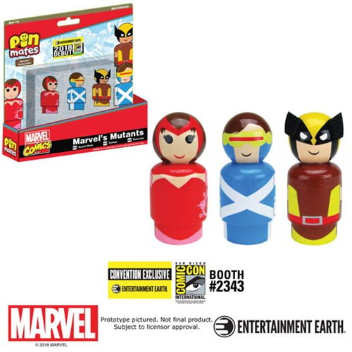 Bif Bang Pow! SDCC 2018 Exclusive Marvel's Mutants Pin Mates Wooden Collectibles Set Of 3