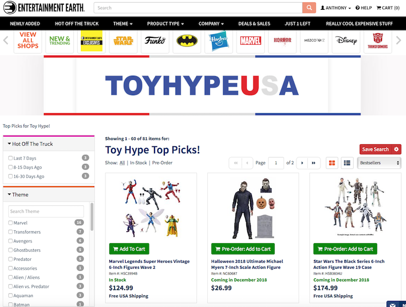 Entertainment Earth – Visit The New Custom Product Page Hand-Picked By ToyHypeUSA Staff