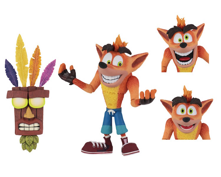 NECA Toys Ultra Deluxe Crash Bandicoot With Aku Aku Mask Figure Available Now