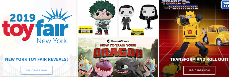 Entertainment Earth – New York ToyFair Product Page & More