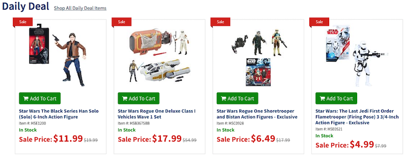 Entertainment Earth Daily Deal – Save Up To 50% Off & More On Select Star Wars Action Figures & Vehicles