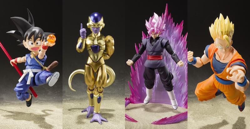 Dragon Ball World Adventure Exclusive Goku Black, Son Gohan & Golden Frieza Figures