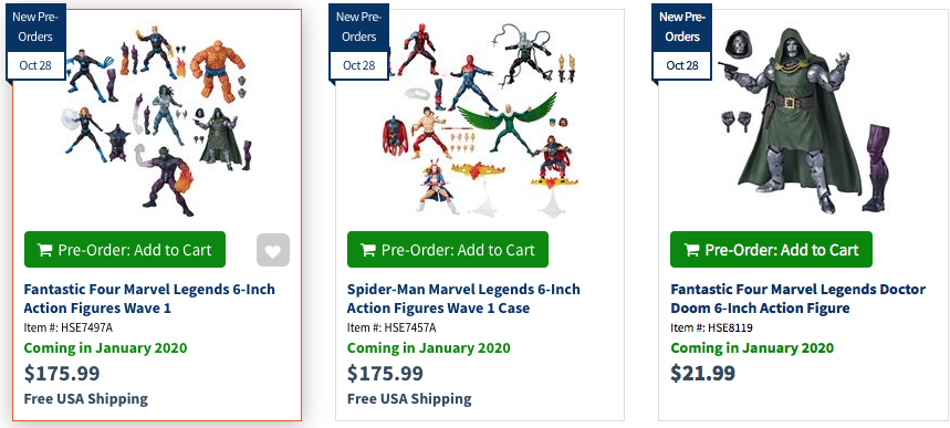 Entertainment Earth – New Hasbro Marvel Legends Spider-Man & Fantastic Four Wave Pre-Orders