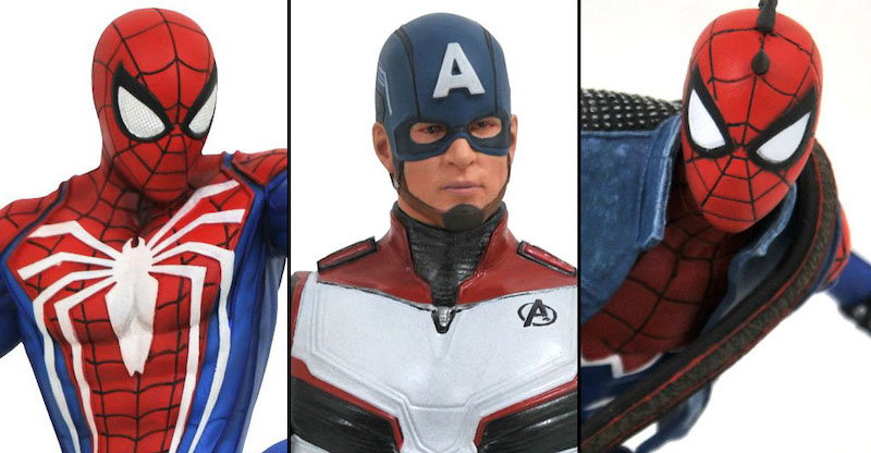 Diamond Select Toys – GameStop Exclusive Captain America, Spider-Man & Spider-Punk PVC Statues