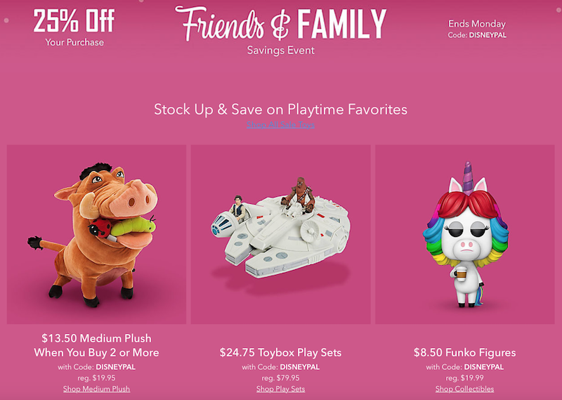 Disney Store Offers 25% Off On Toy Box Figures, Plush, Funko & More