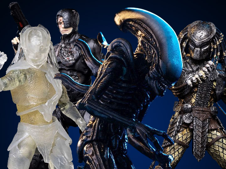 Hiya Toys Big Chap Alien, Invisible Falconer & Scar Predator & Battle Damaged RoboCop Figures