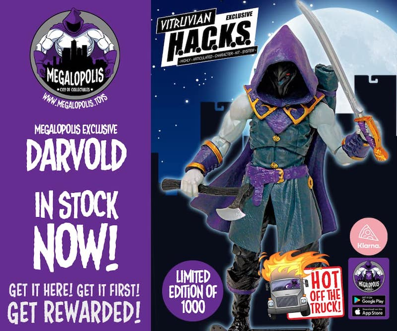 Megalopolis: City Of Collectibles – Vitruvian H.A.C.K.S. Darvold Elven Swordmaster Exclusive Figure Available Now