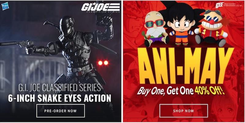 Entertainment Earth – G.I. Joe Classified Snake Eyes, Ani-May, Jurassic World, LEGO & More