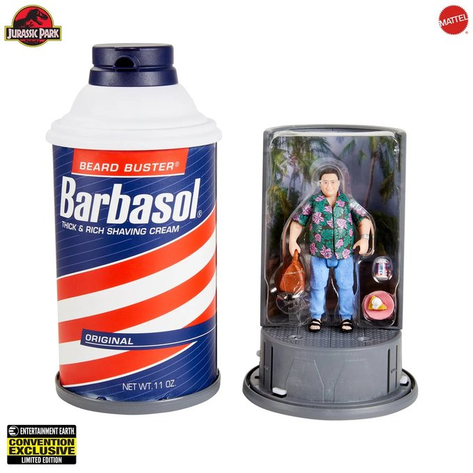 Entertainment Earth – Mattel Jurassic World 3.75″ Dennis Nedry in a Barbasol Can Figure Pre-Orders Today