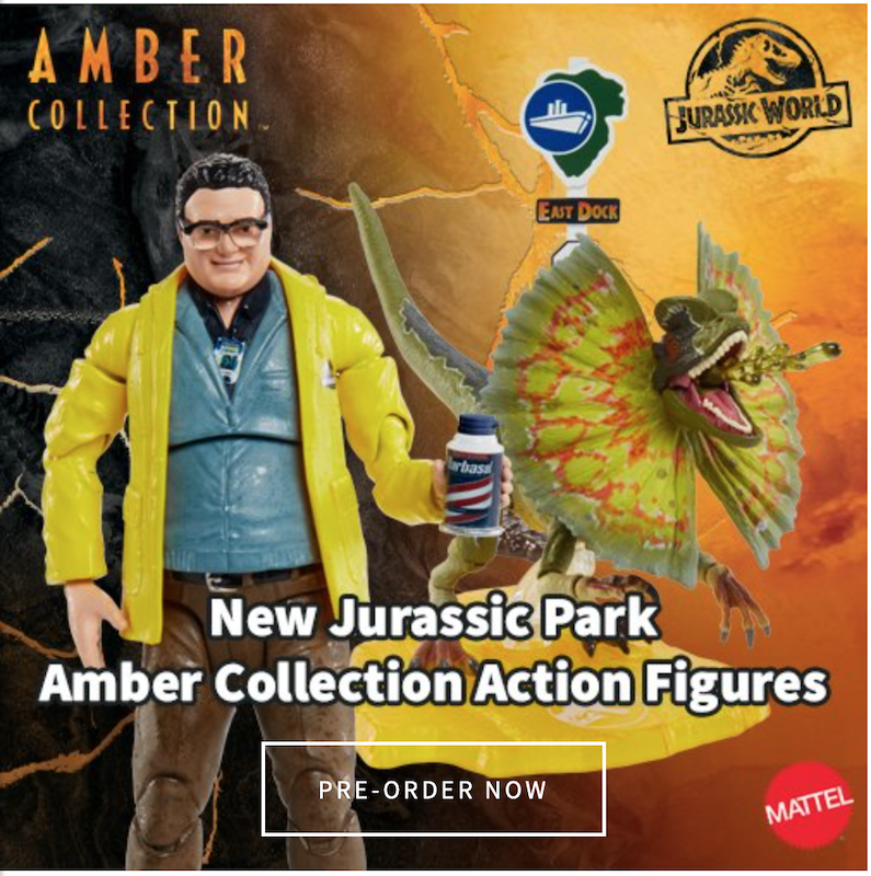 Mattel – Jurassic World Amber Collection Dilophosaurus & Dennis Nerby Figure Pre-Orders