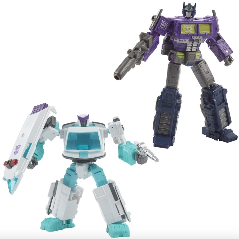 BigBadToyStore – Hasbro Transformers Shattered Glass Optimus Prime & Ratchet 2-Pack In-Stock