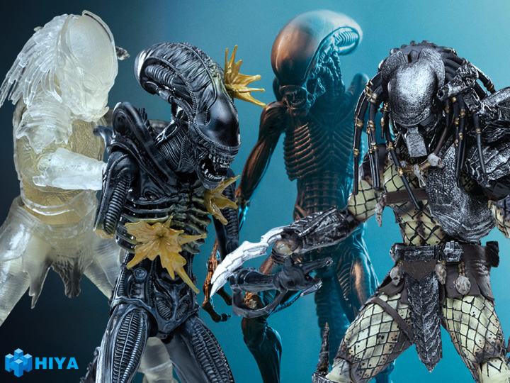 Hiya Toys – Battle Damage Alien Warrior, Dog Alien, Warrior & Invisible Berserker Predator Figures