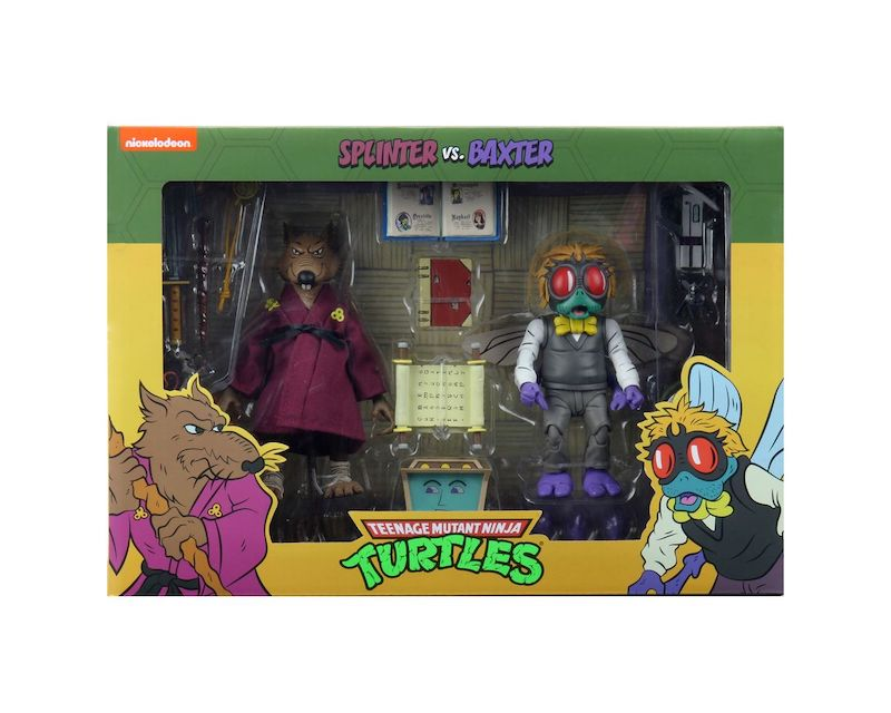 NECA Toys Teenage Mutant Ninja Turtles Cartoon Baxter Stockman & Splinter Figures In-Packaging