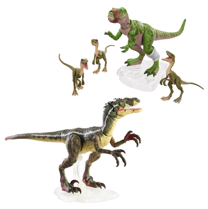 EE – Mattel Jurassic World Amber Collection Dominion Velociraptor, T-Rex & Chops Figures