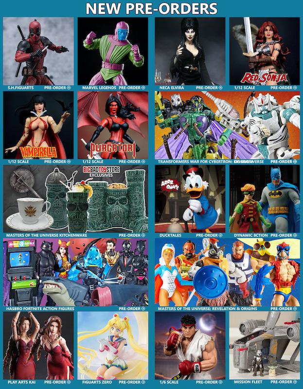 BigBadToyStore News – Deadpool, MOTU, Red Sonja, Vampirella & Purgatori, Elvira, WFC Tigatron, DC Multiverse, Fortnite, ThunderCats & More